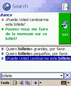 ECTACO PhraseBook Spanish -> French for Pocket PC Screenshot 1