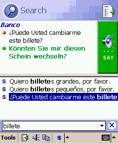 ECTACO PhraseBook Spanish -> German for Pocket PC Screenshot