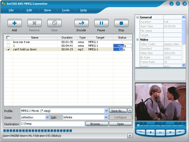 ImTOO AVI MPEG Converter Screenshot