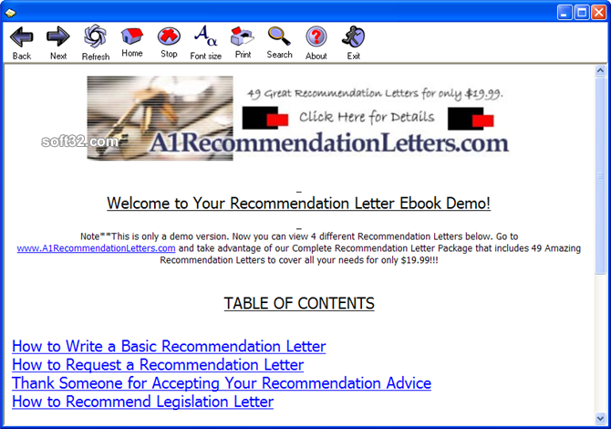 Letter Of Recommendation Sample Screenshot