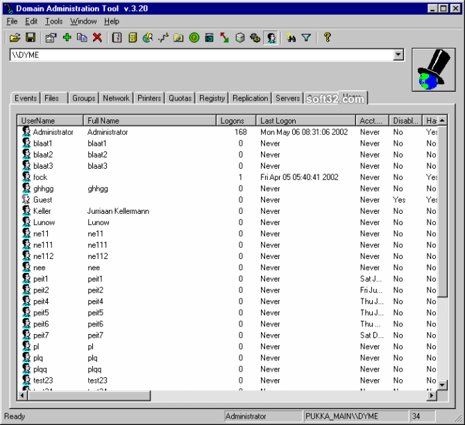 Domain Administration Tool Screenshot