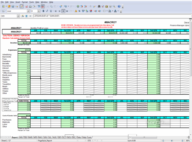 Profit Loss Report Spreadsheet Screenshot 6