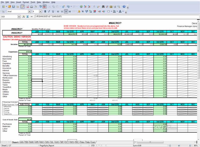profit loss report spreadsheet screnshots