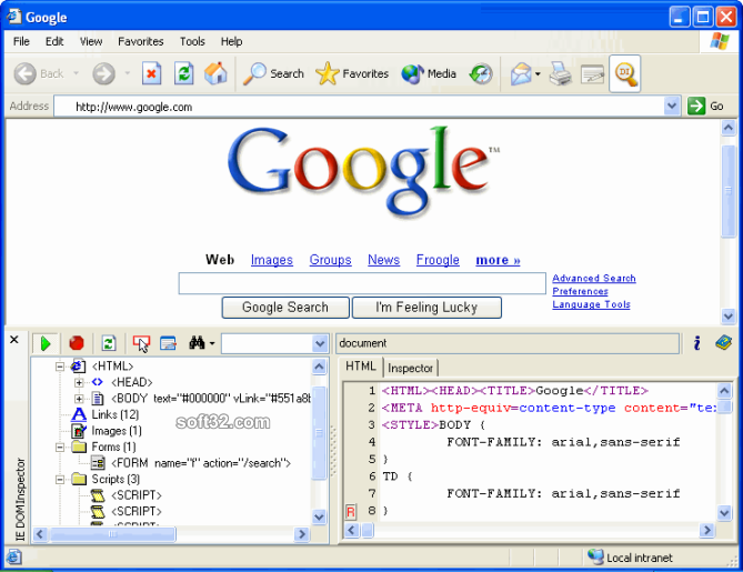 IE DOM Inspector Screenshot 2