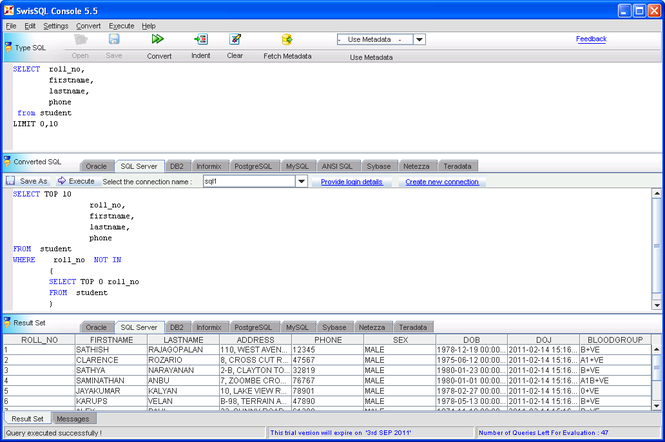 SwisSQL Console Screenshot
