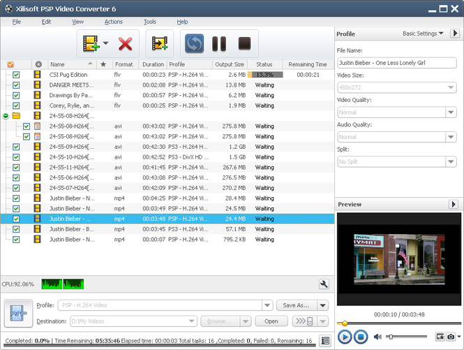 Xilisoft PSP Video Converter Screenshot