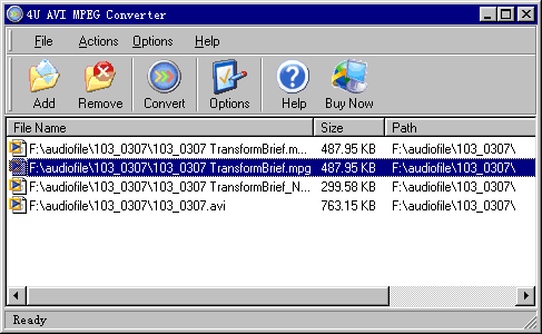 4U AVI MPEG Converter Screenshot 1
