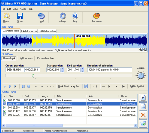 Direct WAV MP3 Splitter Screenshot 1