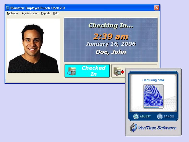 Biometric Employee Time Clock Screenshot