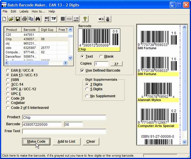 Batch Barcode Maker Screenshot