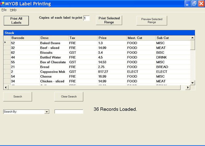 MYOB RM Label Printing Screenshot 1