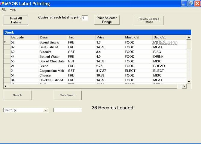 MYOB RM Label Printing Screenshot 2