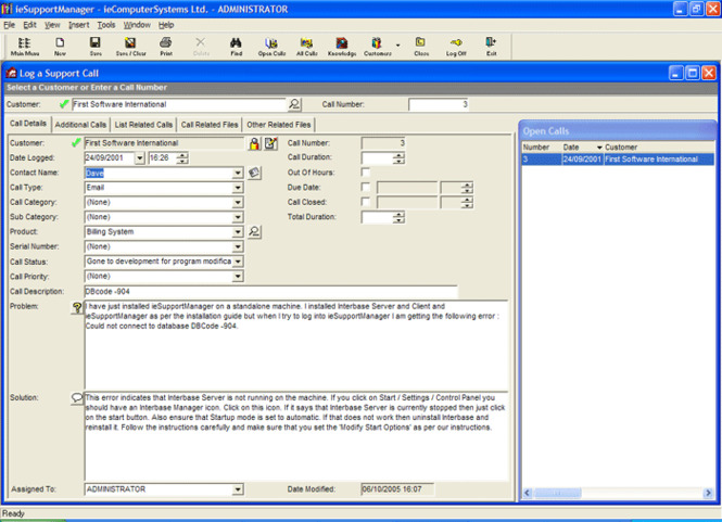 ieSupportManager Helpdesk Screenshot