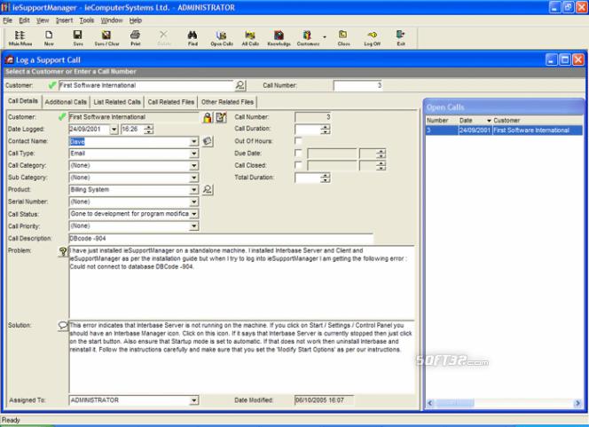 ieSupportManager Helpdesk Screenshot 2