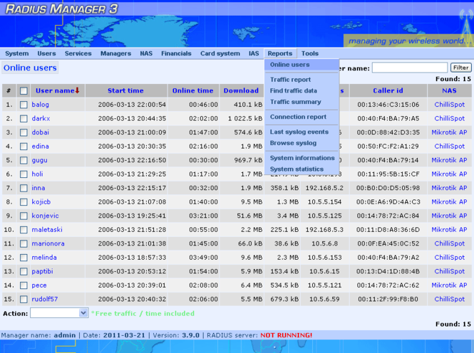 Radius Manager Screenshot