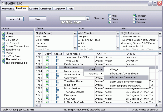 iPod2PC Screenshot 3