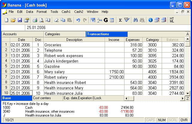 Banana Cashbook Screenshot