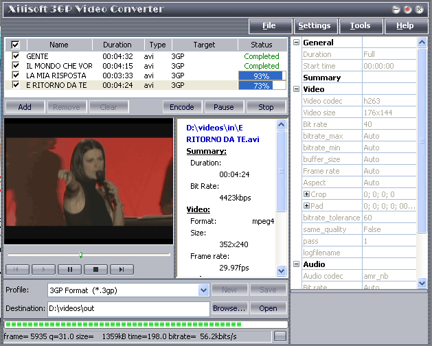 3X 3GP Video Converter Screenshot