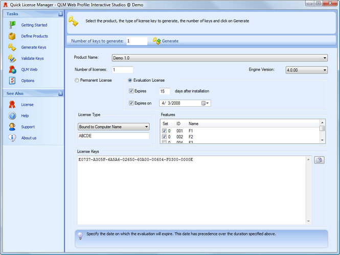 Quick License Manager Screenshot