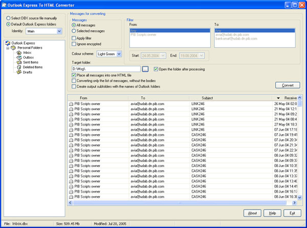 Outlook Express To HTML Converter Screenshot 2