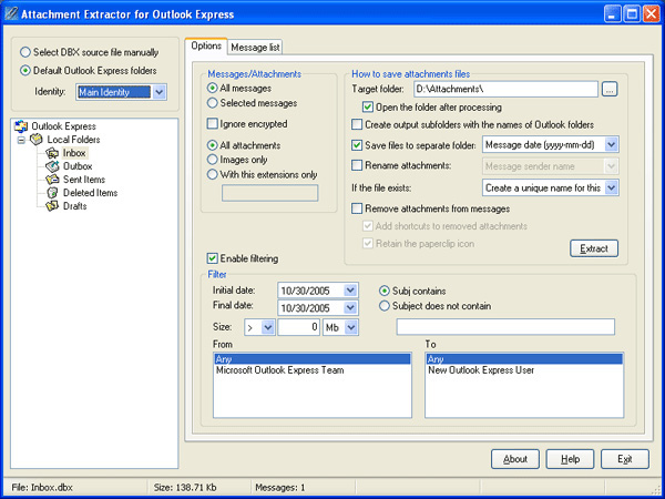 Attachment Extractor for Outlook Express Screenshot