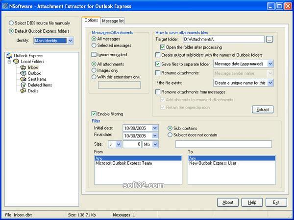 Attachment Extractor for Outlook Express Screenshot 3