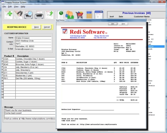 Snappy Invoice System Screenshot