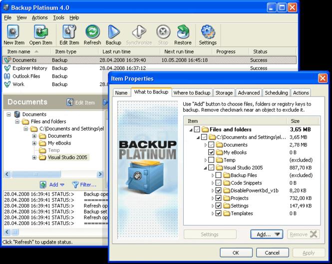 Backup Platinum Screenshot