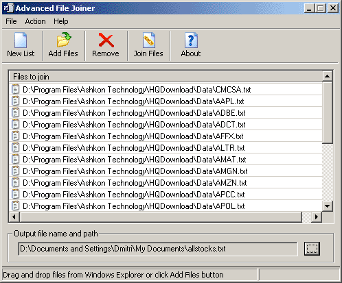 Advanced File Joiner Screenshot