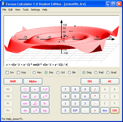 Fornux PowerCalc-GX Student Edition Screenshot