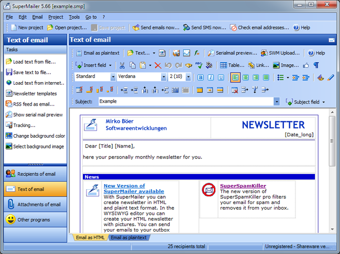 SuperMailer Screenshot