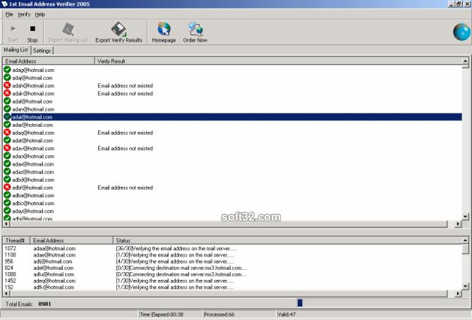1st Email Address Verifier Screenshot 2