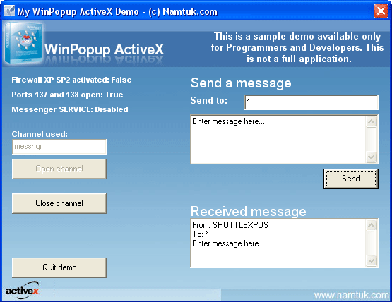 WinPopup ActiveX Screenshot