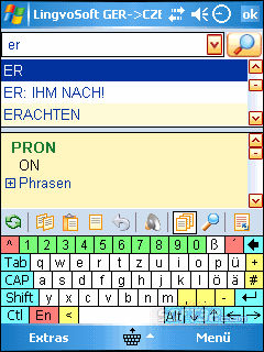 LingvoSoft Talking Dictionary German <-> Czech for Pocket PC Screenshot 3