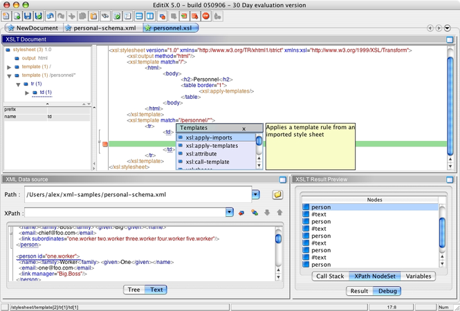 EditiX XML Editor (for Mac OS X) Screenshot