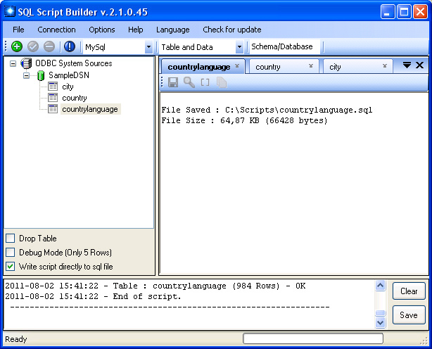 SQL Script Builder Screenshot