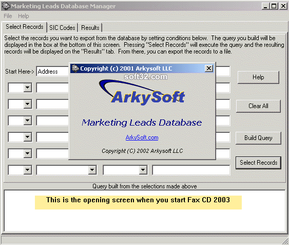 Marketing Leads Database 2005 Screenshot