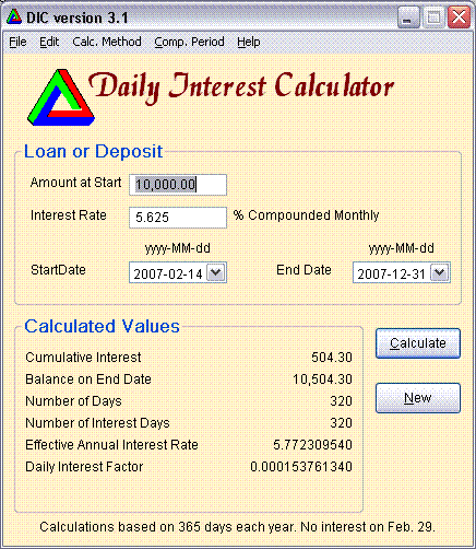 Daily Interest Calculator Screenshot