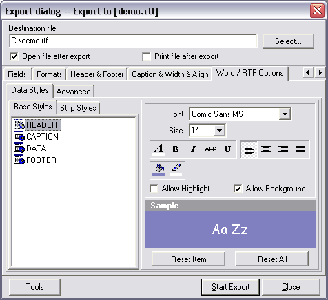 Advanced Data Export VCL Screenshot