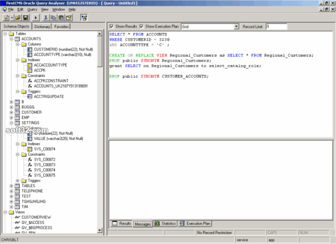 Oracle Query Analyser Screenshot 3