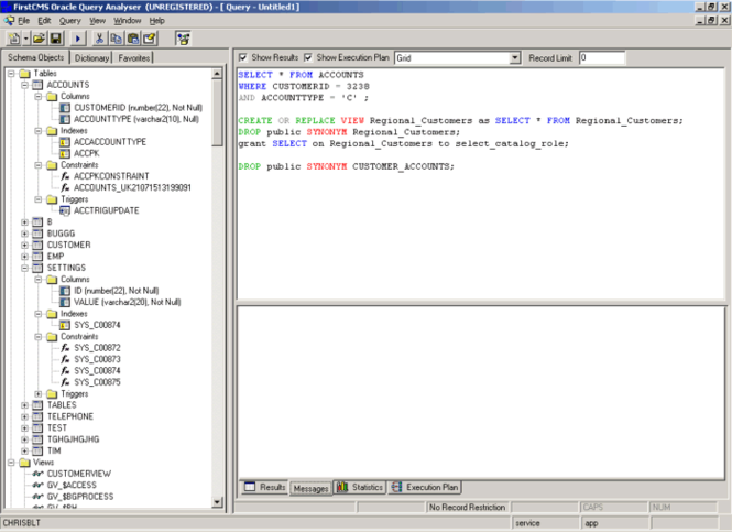 Oracle Query Analyser Screenshot