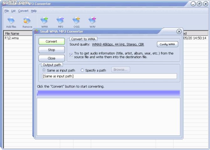 Small WMA MP3 Converter Screenshot 2