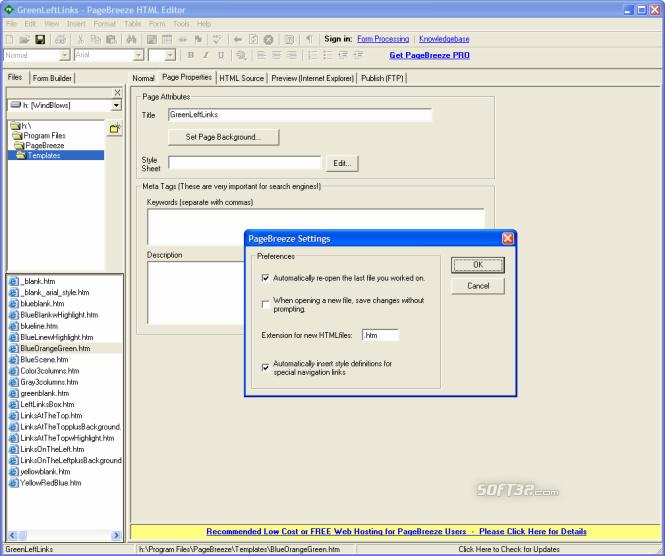 PageBreeze Free HTML Editor Screenshot 5