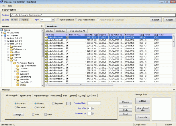 Winsome File Renamer Screenshot 1