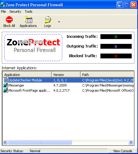 ZoneProtect Personal Firewall Screenshot