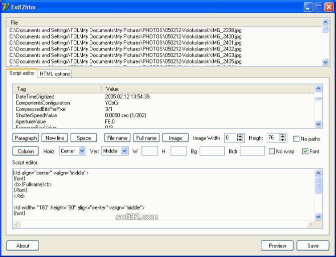 Acritum Exif2htm Screenshot 2