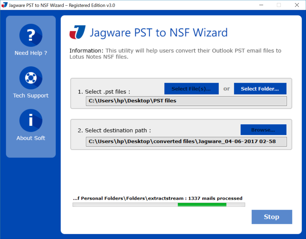 Jagware PST to NSF Converter Screenshot