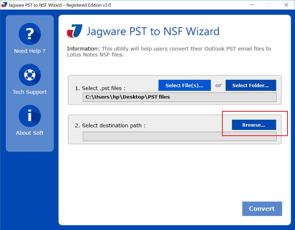 Jagware PST to NSF Converter Screenshot 2