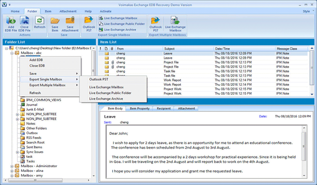Export Exchange Server Mailbox to PST Screenshot