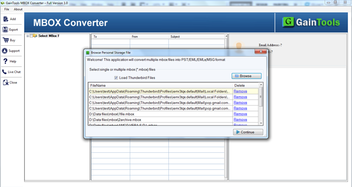 GainTools MBOX to PST Converter Screenshot